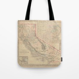 Vintage Map Of California Tote Bag