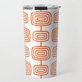 Mid Century Modern Atomic Rings Pattern Orange 3 Travel Mug