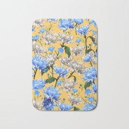Mums Pattern  |  Yellow-Blue-Cream-White Bath Mat