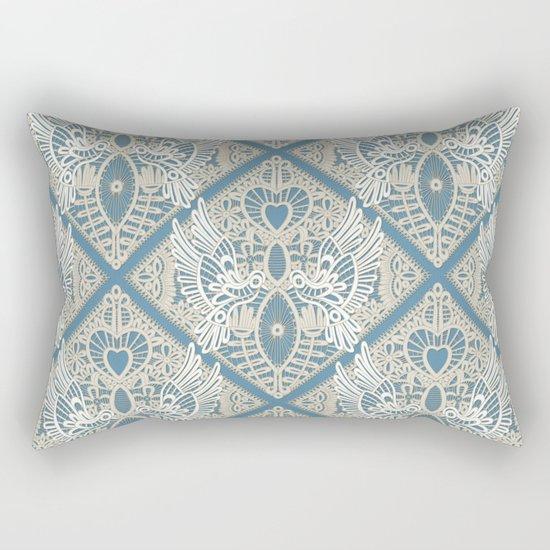 love bird lace blue Rectangular Pillow