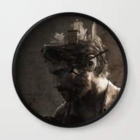 the last of us Wall Clocks featuring The Last Of Us by MCMLXXXV DESIGN