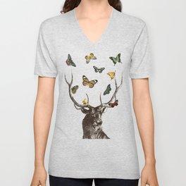 The Stag and Butterflies | Deer and Butterflies | Vintage Stag | Vintage Deer | Antlers | Woodland | Unisex V-Neck