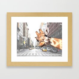 Selfie Giraffe in New York Framed Art Print