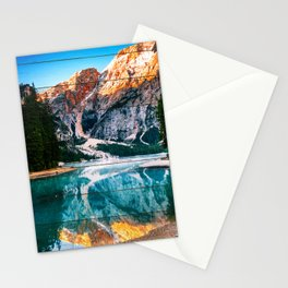 Faux Wood Misty Lake and Snow-cap Mountain Reflections Landscape Photograph Stationery Cards