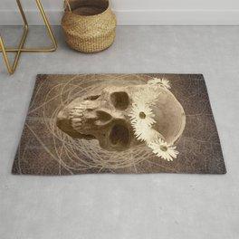 Skull Human Vintage Flowers Digital Collage 2 Rug