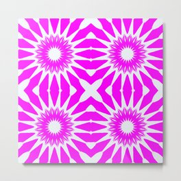 Hot Pink & White Pinwheel Flowers Metal Print