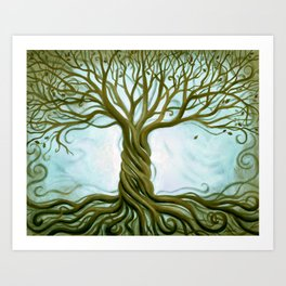 Blue and Brown Swirly Tree of Life by Renee Womack Art Print