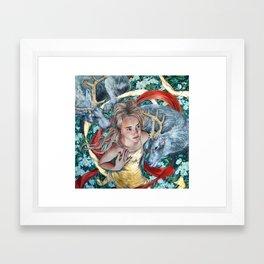 The Awakening, Goddess Artemis with Deer Framed Art Print