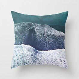 Blue sea blue beach Throw Pillow