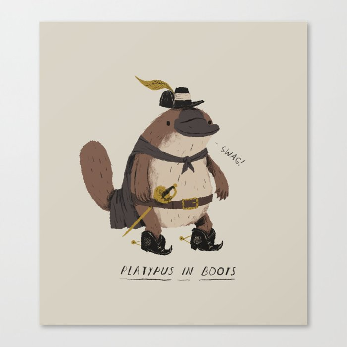 platypus in boots Canvas Print