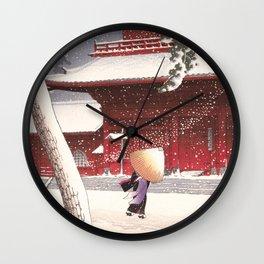 Japanese Art - The Zojo Shrine in Shiba by Kawase Hasui, 1925 Wall Clock