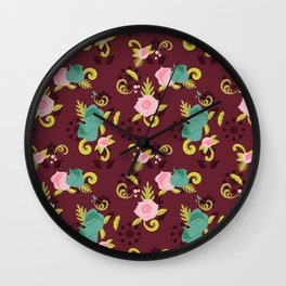 Floral Whimsy Wall Clock