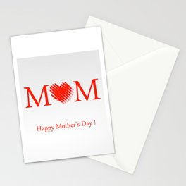 Happy mothers day- Red heart scribbled to form letter O Stationery Cards