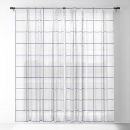 Grid Pattern White Ultra Violet 5F4B8B Stripe Line Minimal Stripes Lines Spring Summer Sheer Curtain