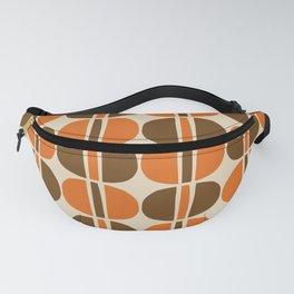 Mid Century Modern Geometric Pattern 127 Beige Brown and Orange Fanny Pack