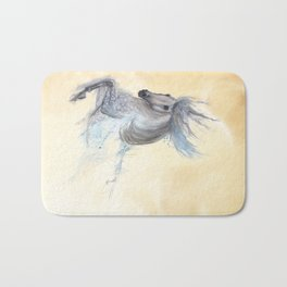 Dancing white horse Bath Mat
