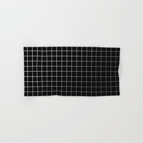 Metal Cage - Industrial, metallic grid pattern Hand & Bath Towel