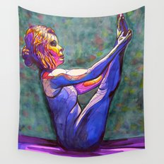 Stained Glass Boat Pose Wall Tapestry