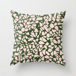 Stone Pattern - Salmon Pink & Olive Green Throw Pillow