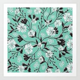 Mint Floral Shadow Art Print