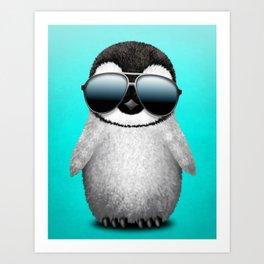 Cute Baby Penguin Wearing Sunglasses Art Print