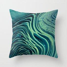 Lagoon Acrylic Tree Ring Pour Painting Throw Pillow