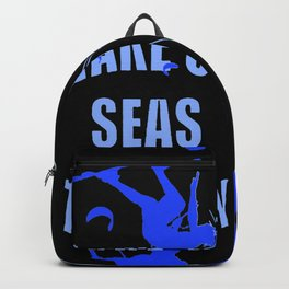 Wake Up Seas The Day Kiteboarder Royal Blue Backpack