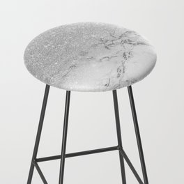 Modern faux grey silver glitter ombre white marble Bar Stool