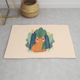 Orange Garden Cat Rug
