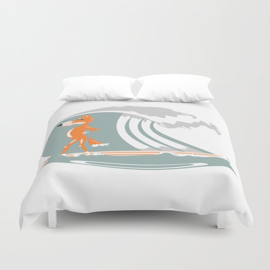 Fox Surfing Duvet Cover