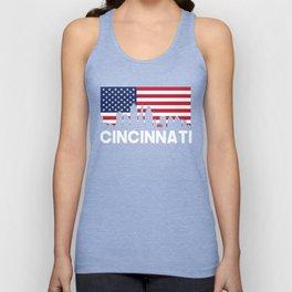 Cincinnati OH American Flag Skyline Unisex Tank Top