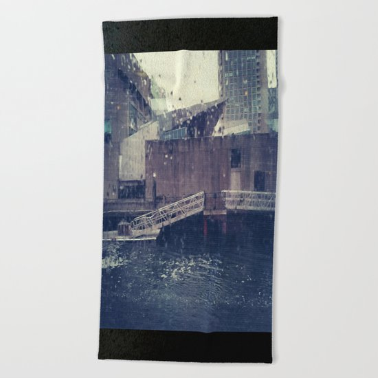 Droplets On Boston Harbor Beach Towel