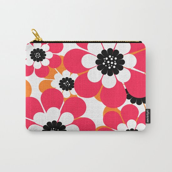 The floral pattern . red and yellow on a white background . Carry-All Pouch
