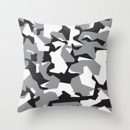 Camouflage Splinter Pattern Grey Throw Pillow