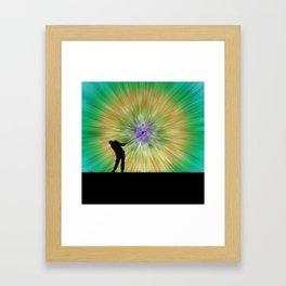 Green Tie Dye Golfer Silhouette Framed Art Print