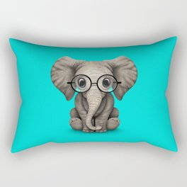 Cute Baby Elephant Calf with Reading Glasses on Blue Rectangular Pillow