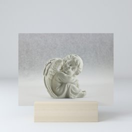 Angelic Cherub Snowfall Photography Mini Art Print