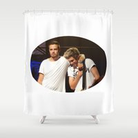 liam payne Shower Curtains featuring Liam and Niall by clevernessofyou