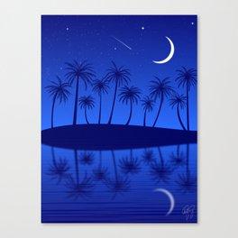 Blue Island Starry Sky Canvas Print