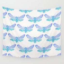 Summer Cicada – Blue Ombré Palette Wall Tapestry