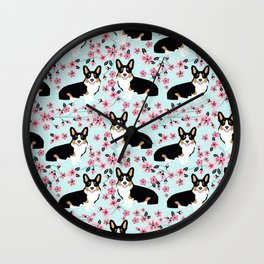 Welsh corgi tricolored cherry blossoms botanical florals japanese flowers dog breed corgis Wall Clock