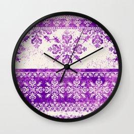 purple fair isle flake on cream Wall Clock
