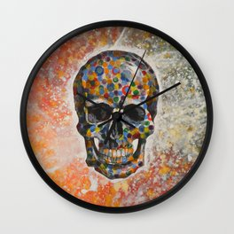 Abstract modern art painting ... Skull Wall Clock