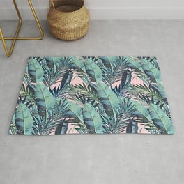 Fashion elegant vector tropical palm leaves pattern Rug