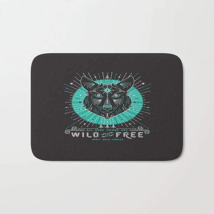 Wild & Free Wolf – Turquoise & Grey Bath Mat