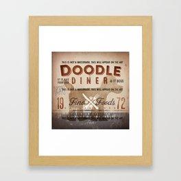 Doodle Diner Dog Kitchen artwork by Stephen Fowler Framed Art Print