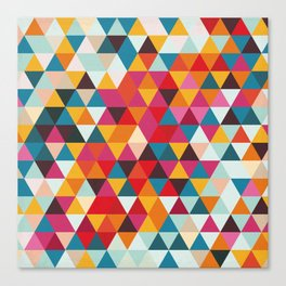 Vintage Summer Color Palette - Hipster Geometric Triangle Pattern Canvas Print