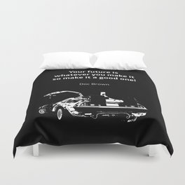 Back to the Future Doc Brown Quote 80s poster Duvet Cover