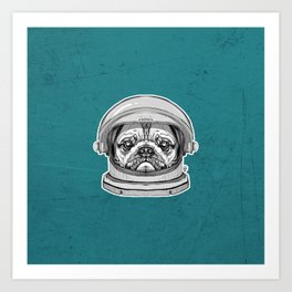Astronaut Pug Kunstdrucke