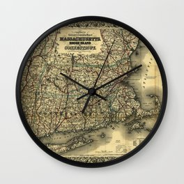 Vintage Map of Southern New England: Connecticut, Rhode Island, and Massachusetts Wall Clock